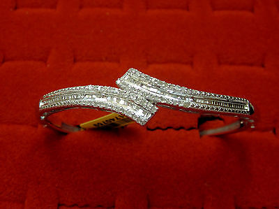 """Natural Real 1/2 CTW Round Baguette Diamond Bangle Bypass Bracelet Silver 7.5"""""""