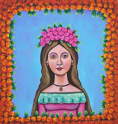 Mexican Painting German Rubio Folk beautiful girl with flowers