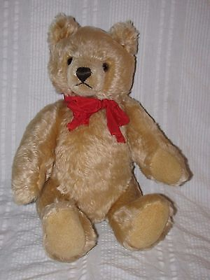 "Vintage STEIFF Blonde Mohair Jointed Teddy Bear 1970s 15"" w/ Growler & Red Bow"