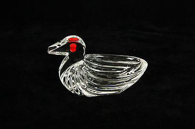 Vintage Crystal Art Deco Glass Duck Open Salt With Red Eyes Cellar Dip Dish