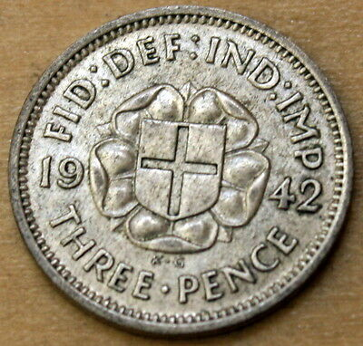 1942 Great Britain 3 Pence Silver