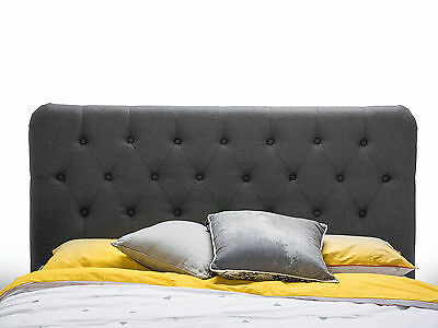 Upholstered Charcoal Grey Fabric Tufted Studded Queen Size Headboard Bedhead
