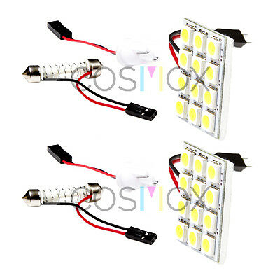 2 Packs CosMox Xenon White Universal T10 /  Map Panel / Festoon 12 SMD LED Dome