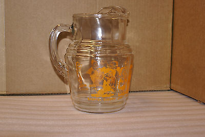 1938 Snow White and the Seven Dwarfs Glass Pitcher Orange Graphic RARE