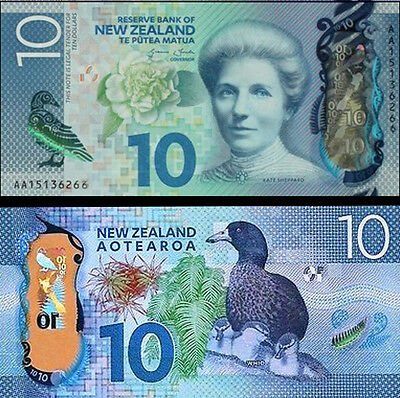 New Zealand First Prefix $10 AA15 Wheeler Re-Design Polymer Banknote Issue pNEW