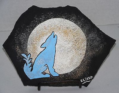 """Howling Coyote"" Southwest Flagstone Painting by Artist Elissa Shakal (W/Easel)"