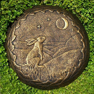 Moon Gazing Hare GARDEN STONE WALL PLAQUE Bronze Effect Pagan Wiccan ornament