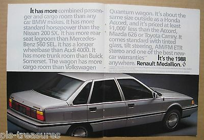 1988Renault Medallion 2-pages Color AD
