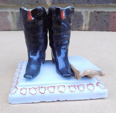 Vintage Ceramic Pair of Boots Match Striker Holder