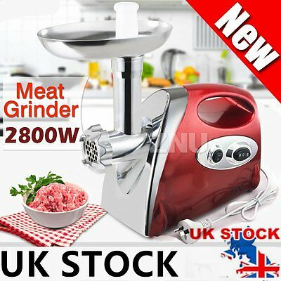 2000W Powerful Kitchen Steel Electric Meat Mincer Grinder Sausage Maker Red