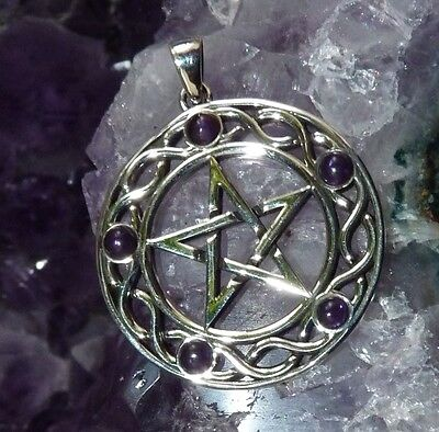 Sterling Silver & Amethyst  Celtic Pentagram Pendant. Pagan/Wiccan/Goth/Occult