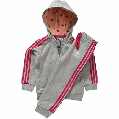 Infants Adidas Originals Grey Pink Tracksuit Hoodie Top Bottoms Baby 0M-3Y NEW
