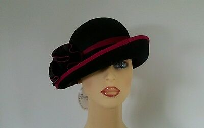 Ladies Occasion Wedding Mother Bride Races Hat Black & Pink by Signiature Englan