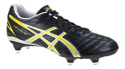 Asics Lethal ST Rugby Boots Changeable Studs Senior Sz 8 Blk/Silv/Ylw RRP £59.99