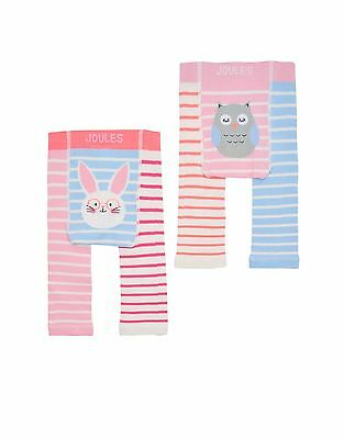 *BNWT* Baby Joules Girls Lively Leggings 2 Pack Bunny Rabbit Owl Pink Blue Warm