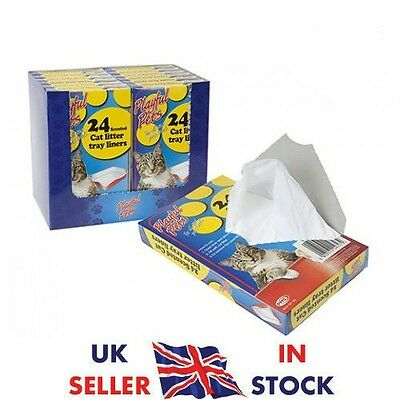 24 PACK SCENTED CAT LITTER TRAY LINERS DISPOSABLE BAGS WHITE 66CM x 30CM UK