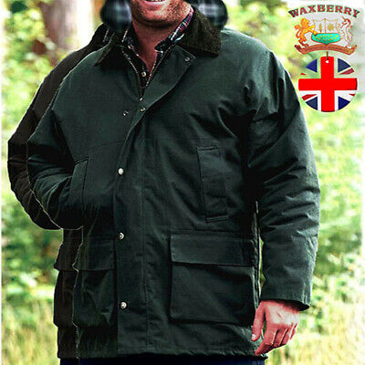 Waxberry Mens Cotton Wax Jacket Padded Hood Country Coat Hunting Riding fishing