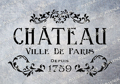 Paris Chateau STENCIL A5 CV Vintage French Country Chic Furniture Fabric Crafts