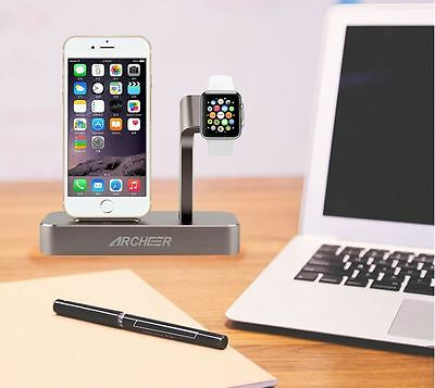 ARCHEER 2 in 1 Watch Stand Charging Station Dock Desktop Charger Adapter For iPh