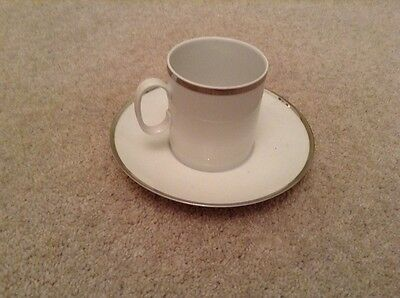 Thomas Medallion Tea cups and saucers with wide silver band