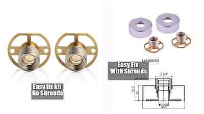 Solid Brass Easy Fix Wall Mount Brackets For Exposed Bathroom Bar Shower Set Kit