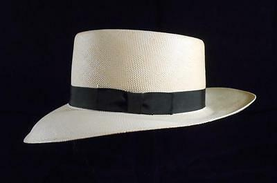 Vintage Men's Bee Hat Straw Wide Brim Cuban Style Fedora,made In Usa,sz 7&1/8-57