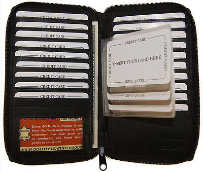 Mens Leather Zip Around Long Credit Card Holder Wallet with Staggered Inserts