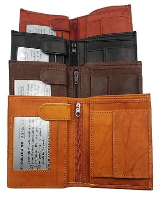 Men's European Cowhide Leather Trifold Wallet 3 ID,8 Slots, Change Pocket New