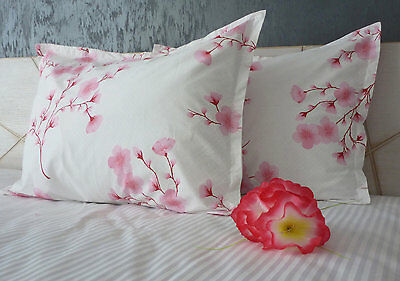 Luxury 100% Cotton Pair of Pillow Cases Pink Floral Print