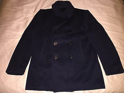 "mens large WW2 U.S. Navy black wool peacoat L ""nice"""