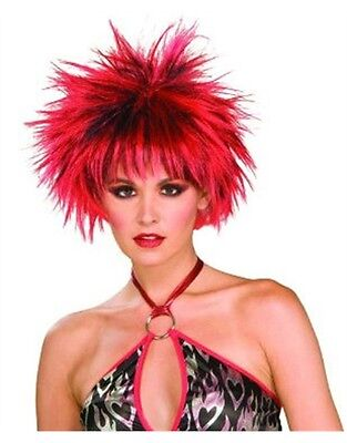 Adult Womens Black and Red Spiked 80s Punk Costume Wig