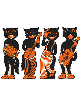 """17"""" Set Of 4 Scat Cat Band Halloween Character Cutouts Party Decorations"""