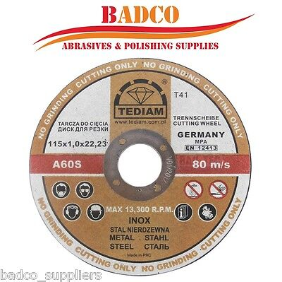 ( Pack of 20 ) -115 x 1mm  Thin Cutting Disc , 4.5'' TEDIAM for METAL / INOX