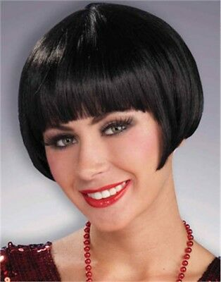 Black Charleston Chic Flapper Girl Costume Bob Wig