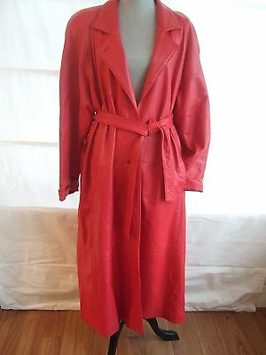 80s retro quality red leather full length coat dolman sleeve belted light - sz M