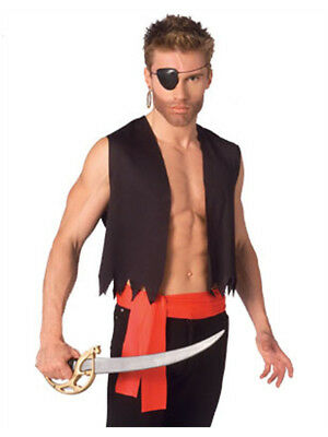 Mens Sexy Pirate Costume with Vest Sash and Eye Patch