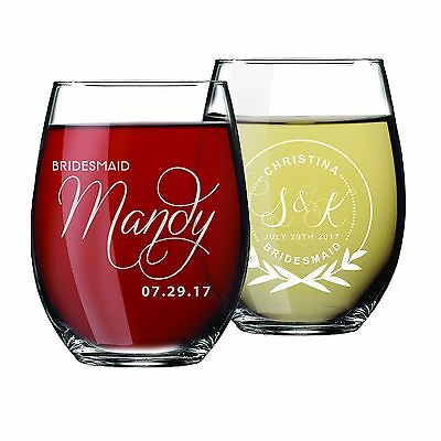 Personalized Etched Bridal Wine Glass Gift For Wedding Party