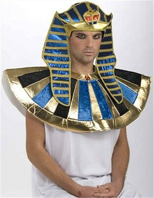 Deluxe Adult Blue and Gold Egyptian Costume Pharaoh Crown Headpiece Hat