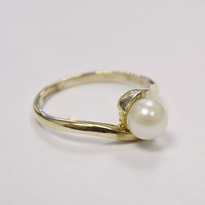 9ct Solid Yellow Gold Authentic Real Pearl Solitaire Ring Hallmarked