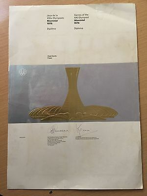 1976 Participation Diploma Montreal 1976.