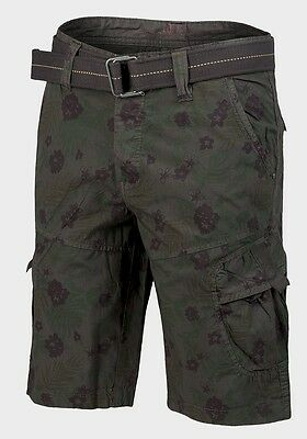 Triveni Men/'s Loose Casual Cargo Shorts Multi Pockets Plain and Camo W// Belt