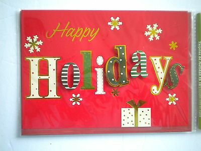 """Luxury Embellished 3D """"happy Holidays"""" Christmas Greeting Card & Red Envelope"""