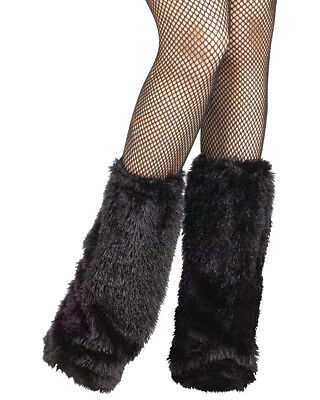 Adult's Womens Fuzzy Furry Go Go Dancer Black Boot Covers Costume Accessory