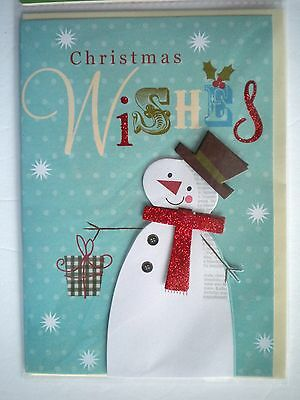 """Luxury Embellished 3D """"christmas Wishes"""" Snowman Greeting Card & Envelope"""