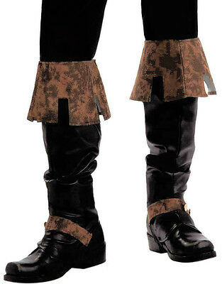 Adult Black and Brown Simulated Leather Medieval Renaissance Costume Boot Tops
