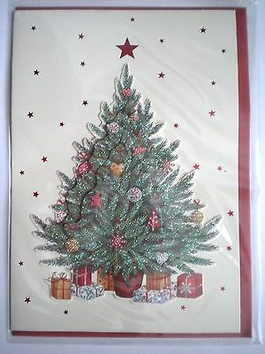 """Luxury Embellished 3D """"trimmed Tree"""" Christmas Greeting Card & Red Envelope"""