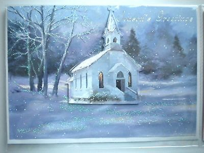 """Luxury Embellished 3D """"country Church"""" Christmas Greeting Card & Envelope"""