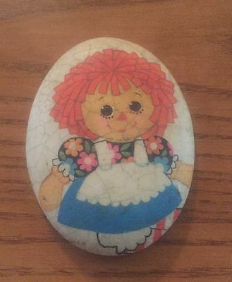 "Vintage Raggedy Ann Chalk Wall Hanging Plaque 4"" X 3"" Chalkware"
