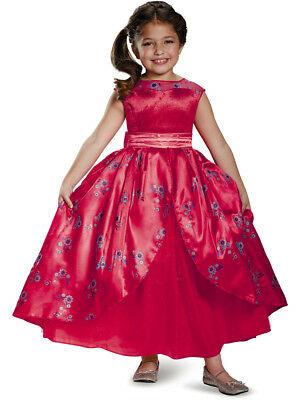 Child's Girls Deluxe Disney Princess Elena Of Avalor Ball Gown Dress Costume