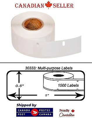 "6 Rolls of Dymo 30333 Compatible 1/2"" x 1"" Thermal Multipurpose Labels"